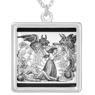 Day of the Dead, Mexico circa lates 1800's. Square Pendant Necklace