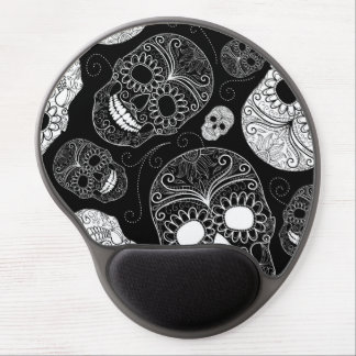 Day of the Dead Mosaic Art Black & White Gel Mouse Pad