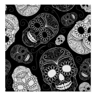 Day of the Dead Mosaic Art Black White Print