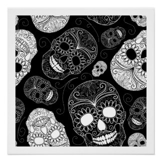 Day of the Dead Mosaic Art Black & White Poster