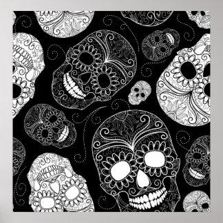 Day of the Dead Mosaic Art Black & White Print