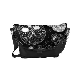 Day of the Dead Mosaic Art Black & White Small Messenger Bag