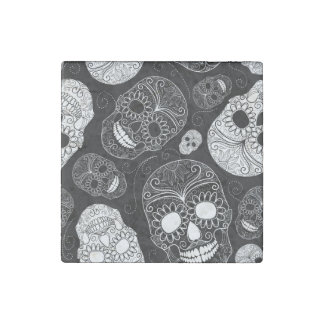 Day of the Dead Mosaic Art Black & White Stone Magnet