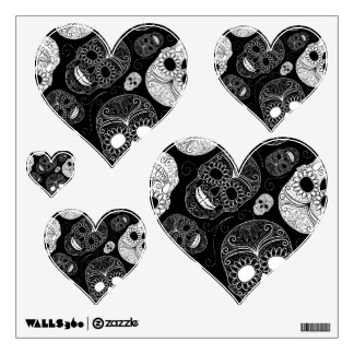 Day of the Dead Mosaic Art Black & White Wall Decal