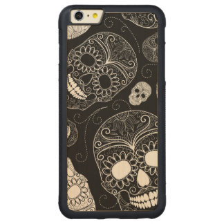 Day of the Dead Mosaic Art Black & White Carved® Maple iPhone 6 Plus Bumper Case