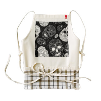 Day of the Dead Mosaic Art Black & White Zazzle HEART Apron