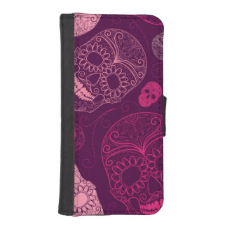 Day of the Dead Mosaic Art Pink & Purple Phone Wallet