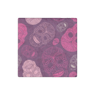 Day of the Dead Mosaic Art Pink & Purple Stone Magnet