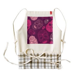 Day of the Dead Mosaic Art Pink & Purple Zazzle HEART Apron
