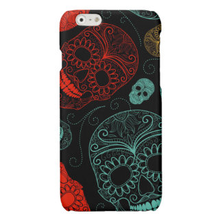 Day of the Dead Mosaic Art Red & Blue Glossy iPhone 6 Case