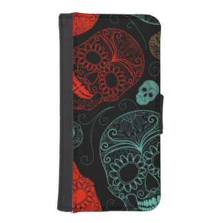 Day of the Dead Mosaic Art Red & Blue iPhone 5 Wallet Cases