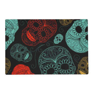 Day of the Dead Mosaic Art Red & Blue Placemat