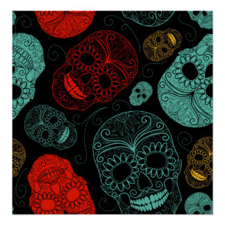 Day of the Dead Mosaic Art Red & Blue Poster