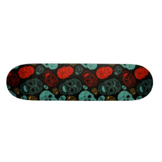 Day of the Dead Mosaic Art Red & Blue Custom Skate Board