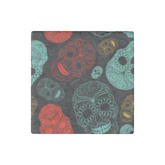 Day of the Dead Mosaic Art Red & Blue Stone Magnet
