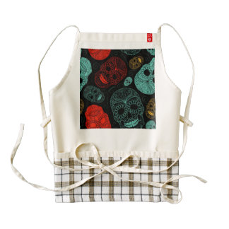 Day of the Dead Mosaic Art Red & Blue Zazzle HEART Apron