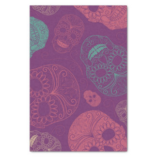 """Day of the Dead Mosaic Art Teal, Pink & Purple 10"""" X 15"""" Tissue Paper"""