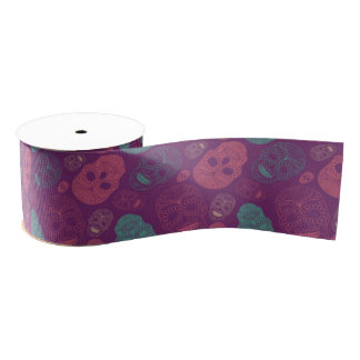 Day of the Dead Mosaic Art Teal, Pink & Purple Grosgrain Ribbon