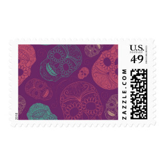 Day of the Dead Mosaic Art Teal, Pink & Purple Postage