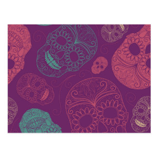 Day of the Dead Mosaic Art Teal, Pink & Purple Postcard