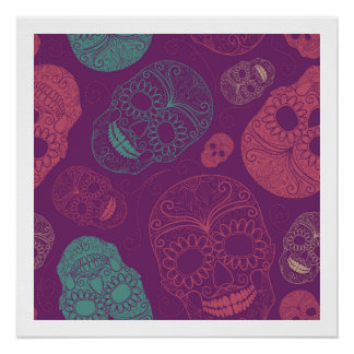 Day of the Dead Mosaic Art Teal, Pink & Purple Poster