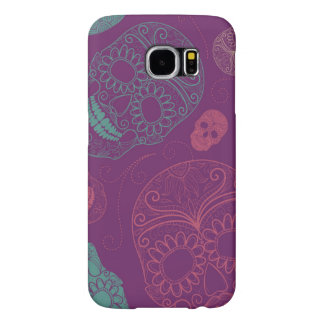 Day of the Dead Mosaic Art Teal, Pink & Purple Samsung Galaxy S6 Case