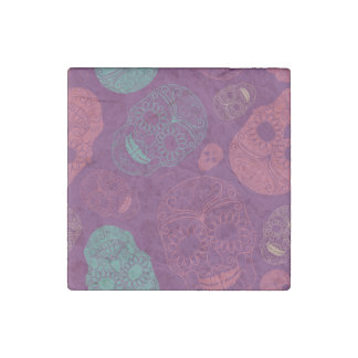 Day of the Dead Mosaic Art Teal, Pink & Purple Stone Magnet