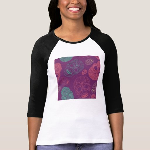 Day of the Dead Mosaic Art Teal, Pink & Purple T Shirts T-Shirt, Hoodie, Sweatshirt