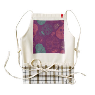 Day of the Dead Mosaic Art Teal, Pink & Purple Zazzle HEART Apron