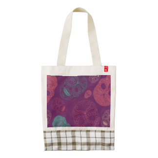Day of the Dead Mosaic Art Teal, Pink & Purple Zazzle HEART Tote Bag