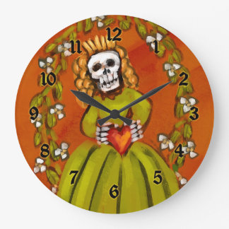 Day Of The Dead Muerta Round Wall Clocks