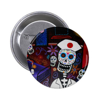 DAY OF THE DEAD NURSE BUTTON