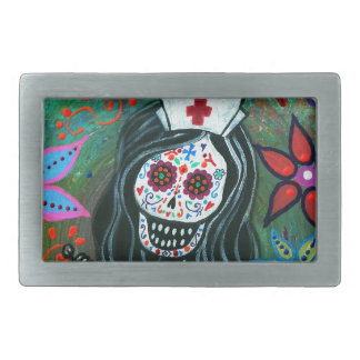Day of the dead nurse painting rectangular belt buckles