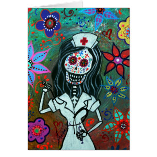 Day of the dead nurse painting card