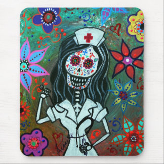 Day of the dead nurse painting mouse pad