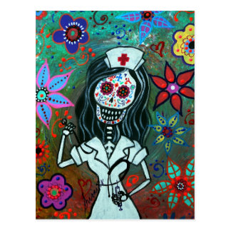 Day of the dead nurse painting postcard