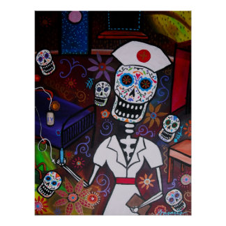 DAY OF THE DEAD NURSE POSTER