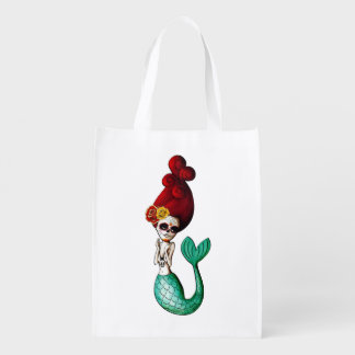 Day of The Dead Old School Cute Mermaid Grocery Bag