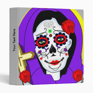 Day of The Dead Painted Lady Scrolls Roses Graphic Binder