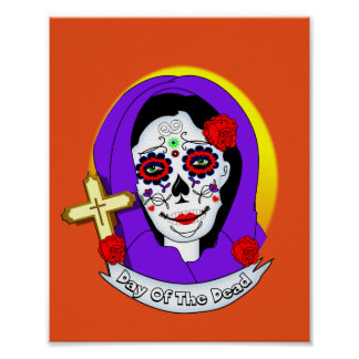 Day of The Dead Painted Lady Scrolls Roses Graphic Poster