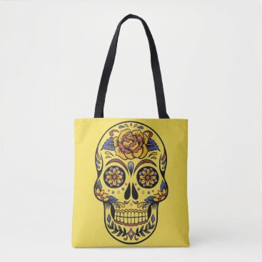 Halloween Themed Day Of The Dead Painted Skull RoseTote Bag