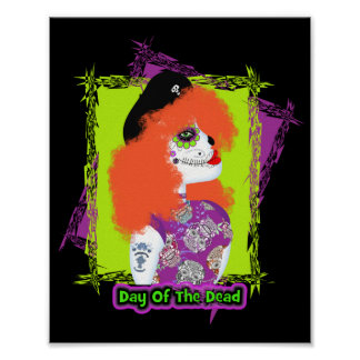Day of The Dead Painted  Tattoo Red Haired Girl Poster