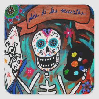 day of the dead painter square sticker