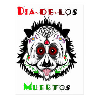 Day of the dead panda postcard