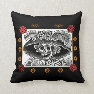 Day of the Dead Pillow - La Catrina with Roses