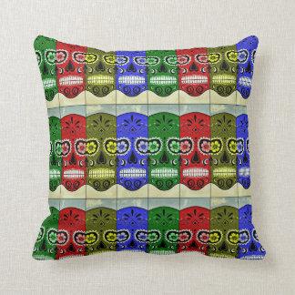 Day of the Dead Pillow Multi-Colored Sugar Skulls