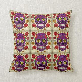 Day of the Dead Pillow Purple Sugar Skull
