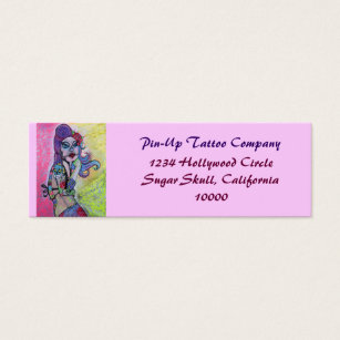 Pin up girl business cards templates zazzle day of the dead pin up girl mini business card colourmoves Choice Image