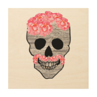 Day of the Dead Pink Hipster Mustache Skull Art