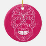 Day of the Dead Pink Skull Christmas Ornaments